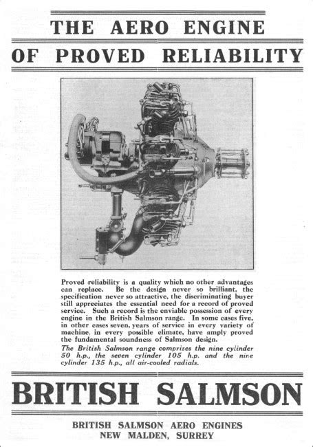 British Salmson Aero Engines - Graces Guide
