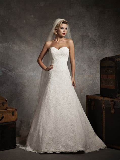 sweetheart strapless lace a line wedding dressCherry Marry