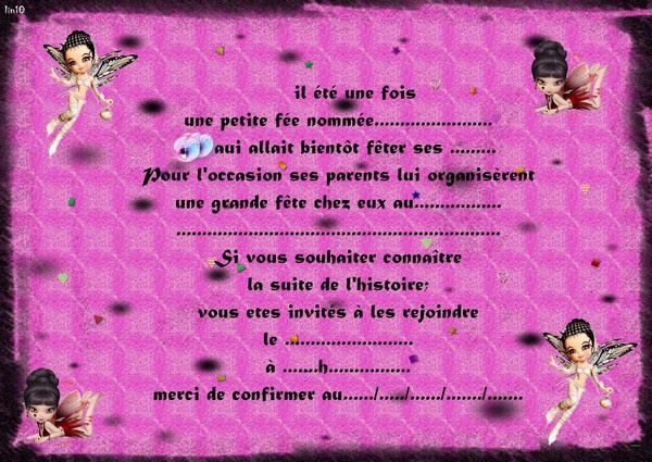 Carte D Invitation D Anniversaire Pour Fille Invitations
