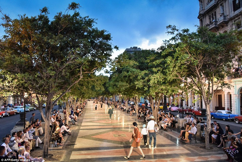 Transformation: A grand Havana colonial avenue was turned into a private runway for the French fashion house on Wednesday night