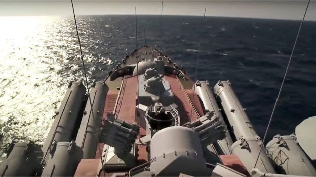 Footage from the Moskva missile cruiser on 27 November 2015