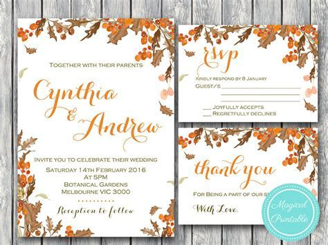 Fall Autumn Wedding Invitation Set, RSVP, Thank You