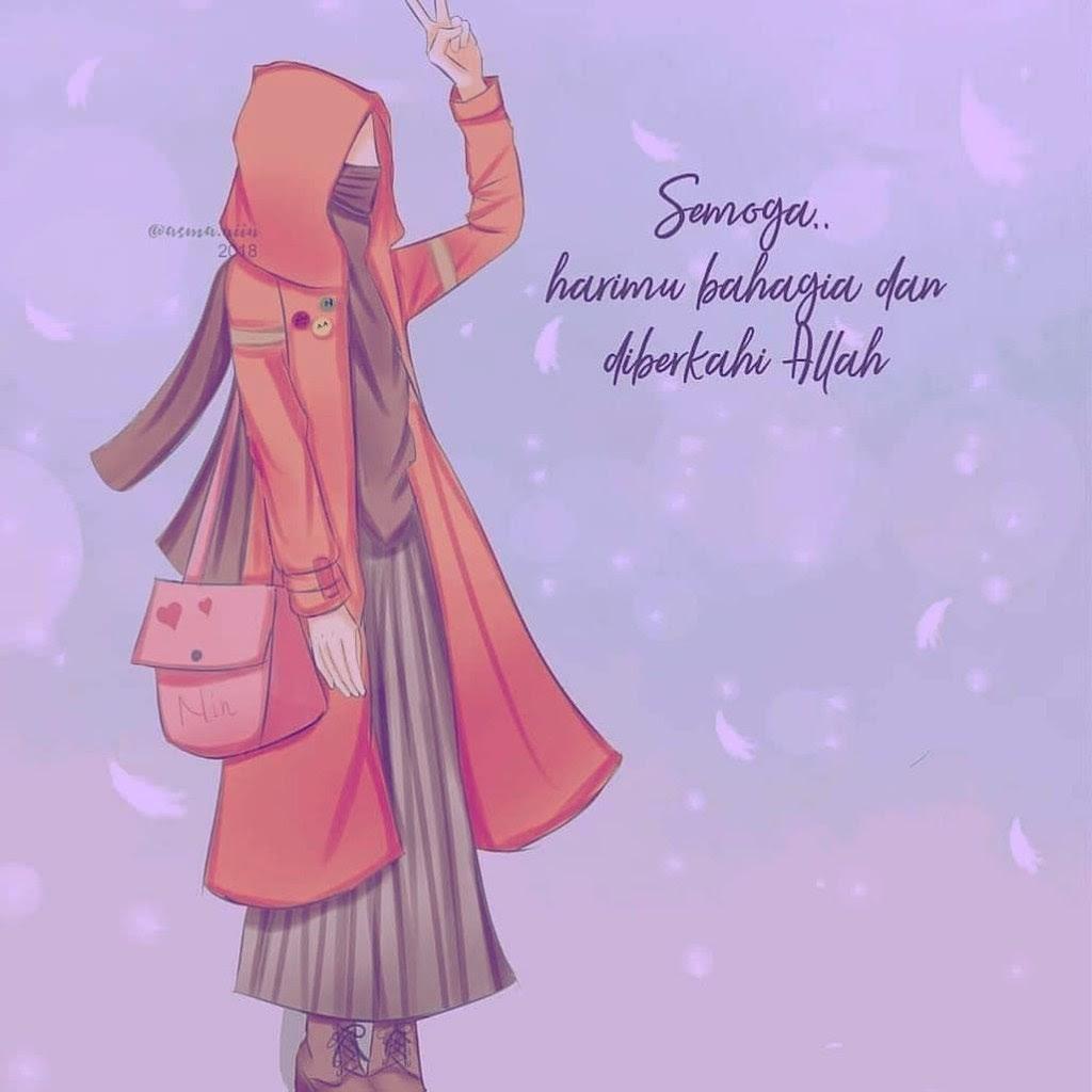 Gambar Kartun Muslimah Bercadar Bahagia Kartun Muslimah