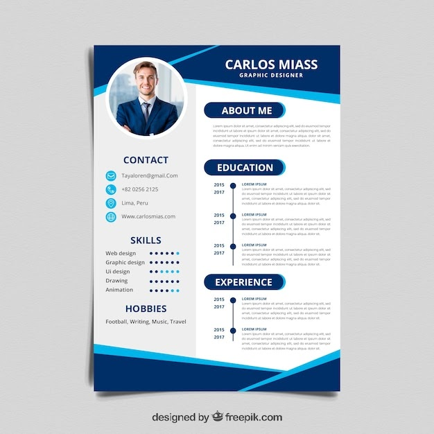 Curriculum Template with Flat & Blue Color Design Free Vector