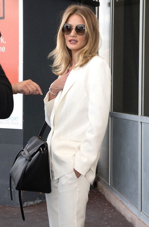 Le Fashion Blog Celeb Model Style Rosie Huntington Whiteley Round Sunglasses White Suit Hermes Belt Bag Via Daily Mail UK