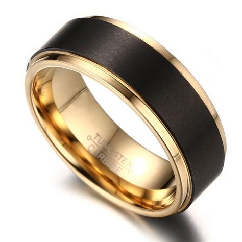 8mm Mens Black Tungsten Wedding Band Ring 18k Gold Plated