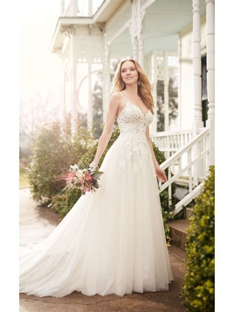 A Line Spaghetti Straps Lace Wedding Dresses Bridal Gowns