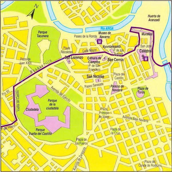 Resultado de imagen de mapa camino de santiago en pamplona