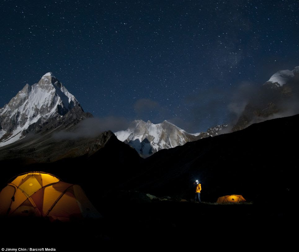 Renan Ozturk checking out the stars above basecamp