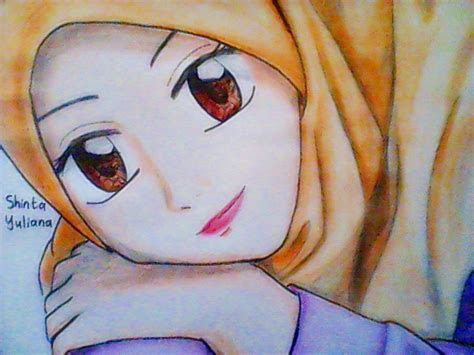 hijab cartoon face  girl