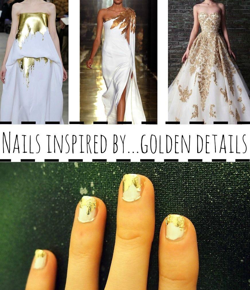 Nägel weiß gold