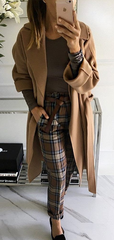 what to wear with plaid pants : brown top + coat + loafers