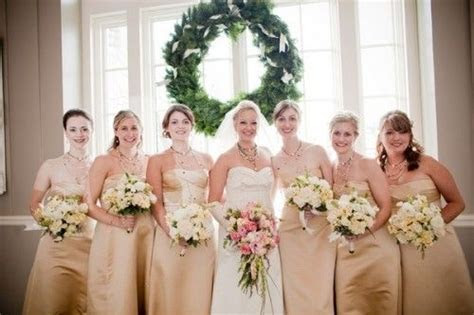 blush and gold weddings   Champagne bridesmaids dresses
