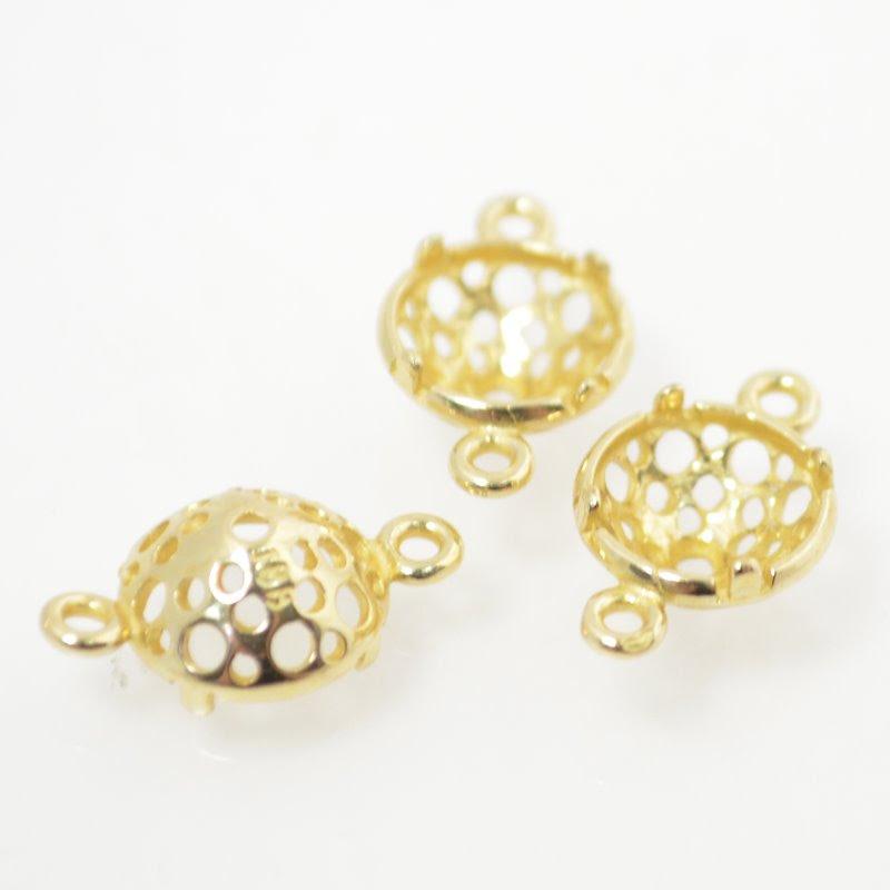 s49031 Findings - Stone Mount - ID 8 mm Turtleback Link - Bright Brass
