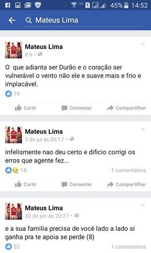 Pelo celular, Mateus acessava a internet e escrevia declarações de amor, reflexões e até lamentava os erros cometidos na página dele no Facebook (Foto: Divulgação/Sejuc)