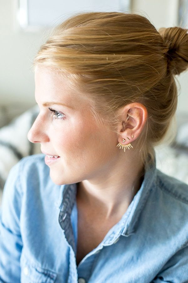 Le Fashion Blog Jewelry Dainty Spiked Earrings Top Knot Chambray Button Down Shirt Bauble Bar Cairo Jackets Via A Piece Of Toast photo Le-Fashion-Blog-Jewelry-Dainty-Spiked-Earrings-Top-Knot-Chambray-Button-Down-Shirt-Bauble-Bar-Cairo-Jackets-Via-A-Piece-Of-Toast.jpg