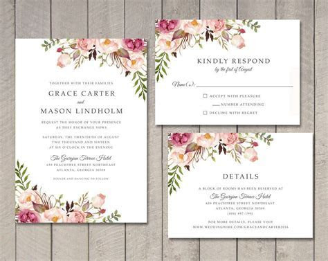 Floral Wedding Invitation RSVP Details Card by