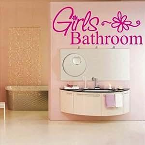 Amazon.com: Dailinming PVC Wall Stickers Girls Bathroom ...
