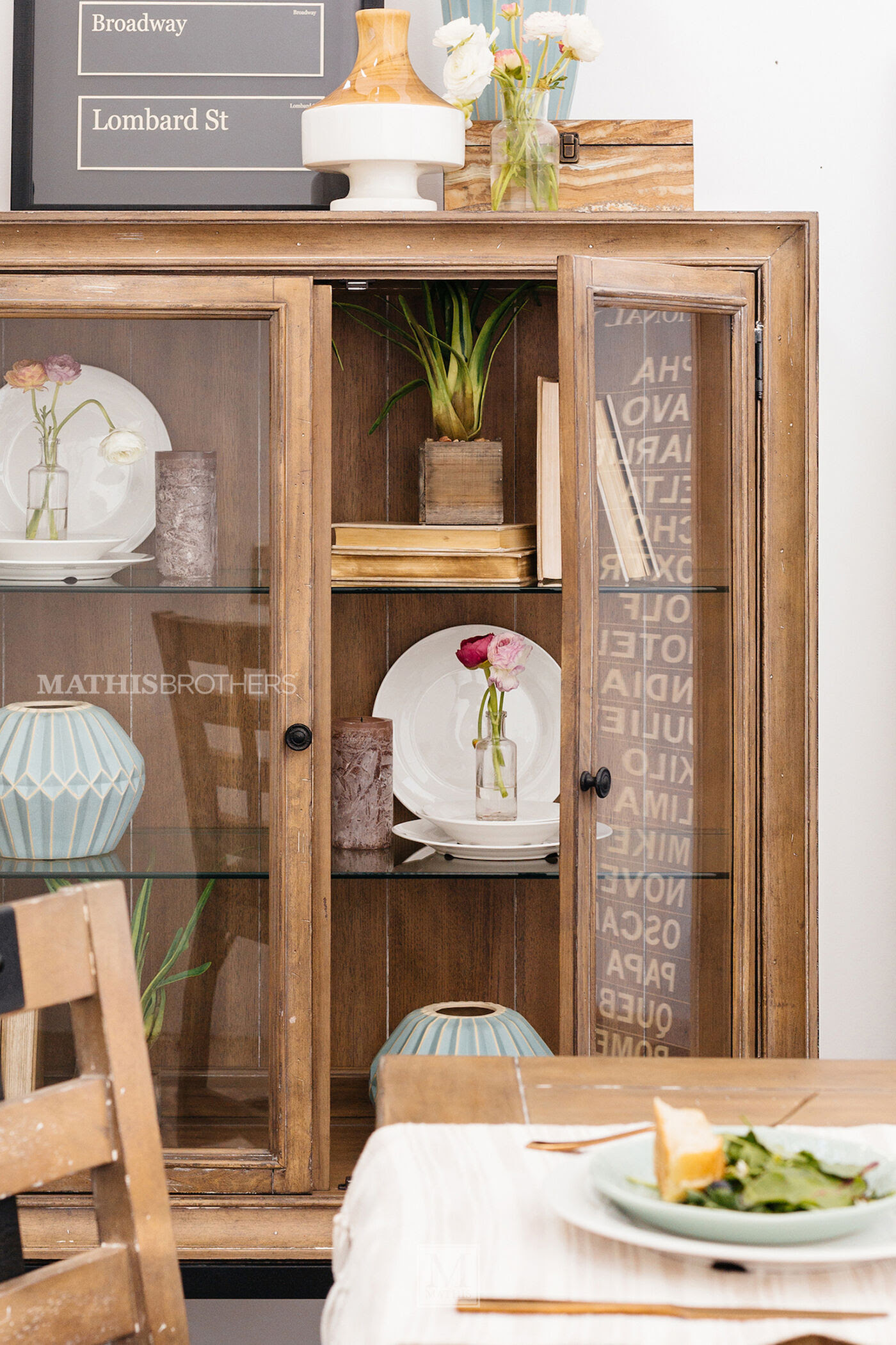 Casual Display Cabinet in Brown  Mathis Brothers Furniture