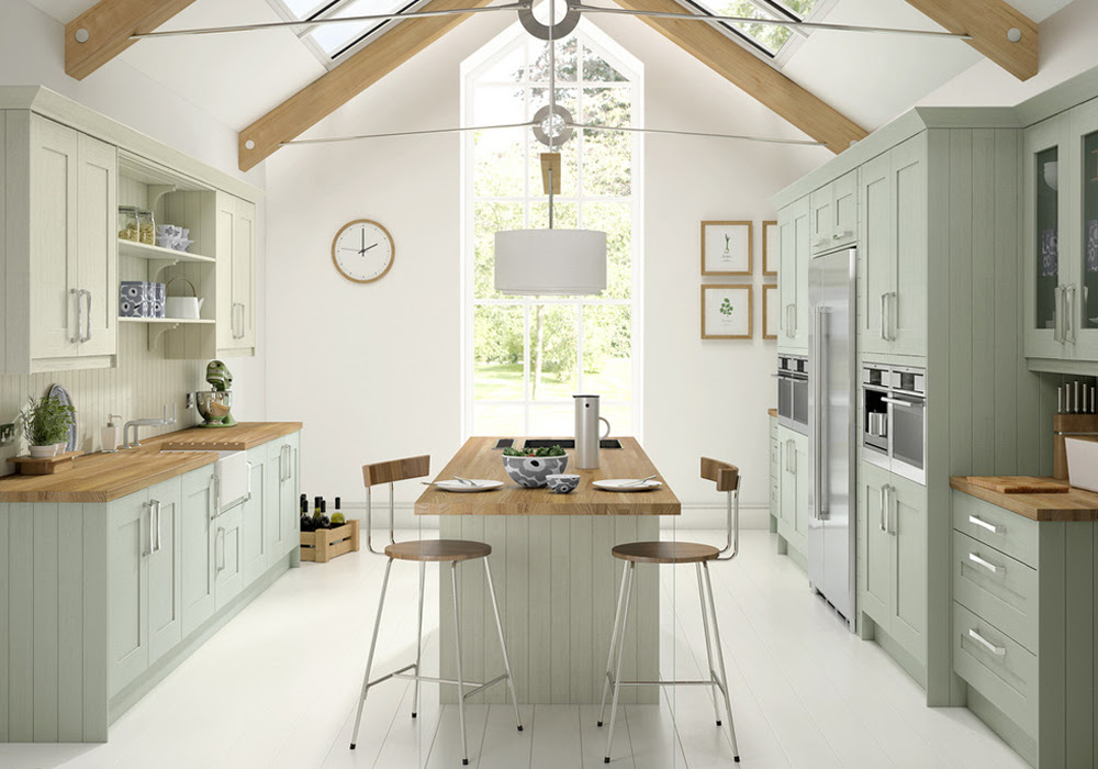 Light Green Solid Wood Kitchen Cabinets SWK-055   Houlive ...