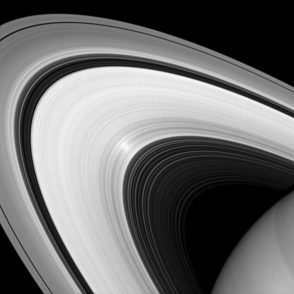Although it may look to our eyes like other images of the rings, this infrared image of Saturn's rings was taken with a special filter that will only admit light polarized in one direction.