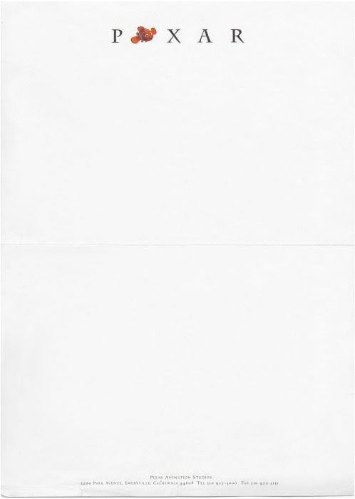Finding Nemo letterhead, used by Pixar director Pete Docter in 2003.  Previously: Pixar's 2008 The Incredibles letterhead. Pixar Animation Studios, 2003 | Submitted by Terri