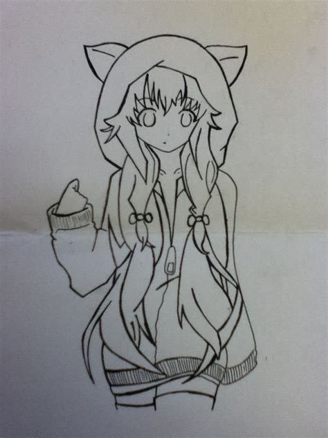 anime girl  hoodie  fox ears anime   arts