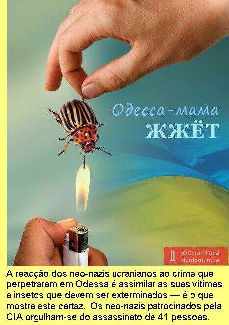 O crime de Odessa num cartaz neo-nazi.