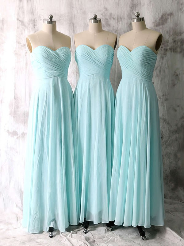 Elegant Sweetheart Chiffon Ruffles Floor-length Light Sky Blue Bridesmaid Dresses #01012535