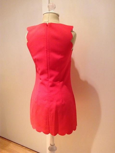 J.Crew scalloped dress, 00P in bright poppy