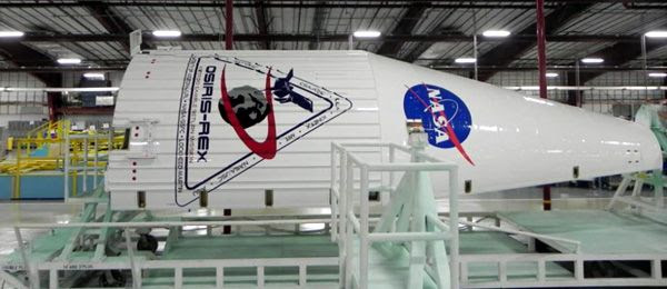 The Atlas V payload fairing that will enshroud the OSIRIS-REx spacecraft during launch is in storage inside the Payload Hazardous Servicing Facility at NASA's Kennedy Space Center in Florida.