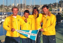 J/24 Brazilian sailing team- gold medal at ODESUR games
