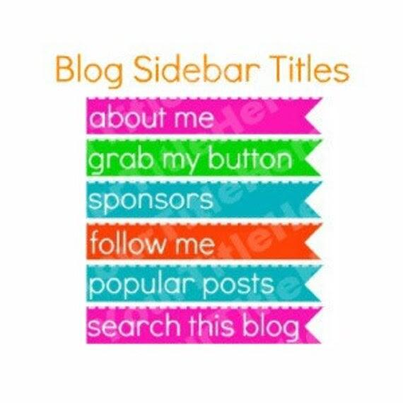 PreMade Sidebar Title Banners - Orange, Green, Turquoise, Pink
