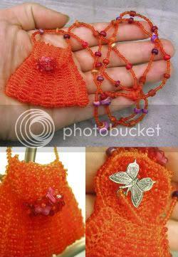 Orange Amulet Bag by Le Beadoir