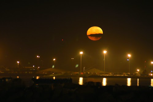 moon setting over the old port