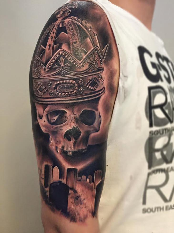 Graveyard Skull Crown Best Tattoo Design Ideas