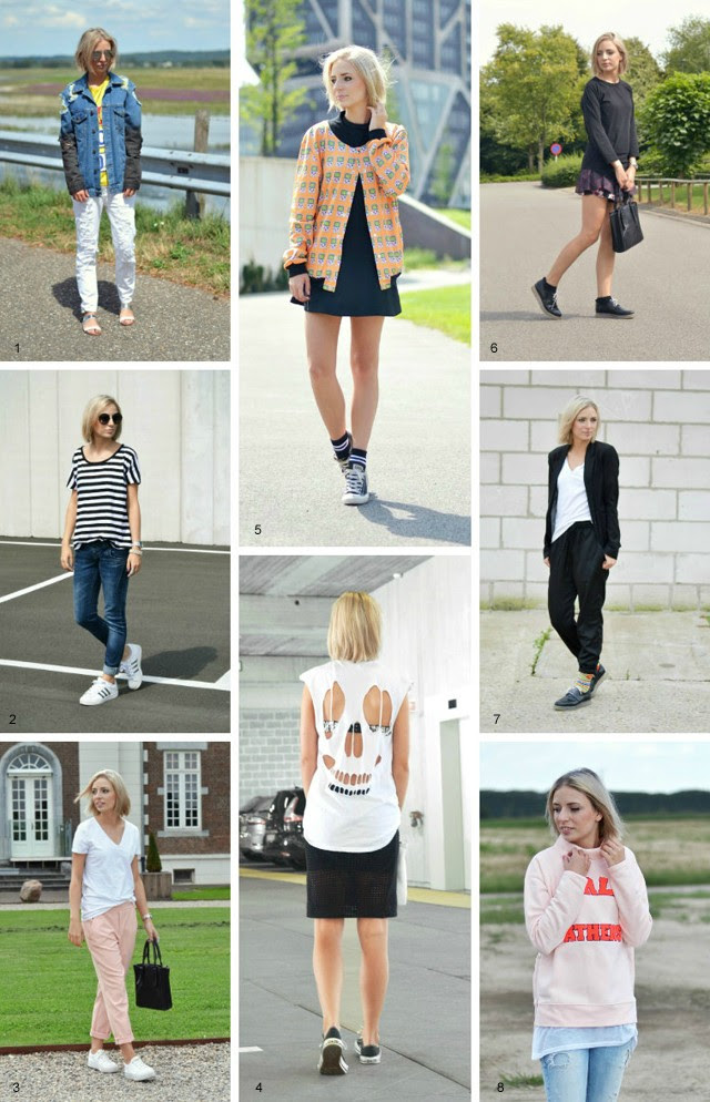Outfit recap of august, summer outfits, compilation, fashion blogger, style icon, asos, zara, h&m, front row shop, longboard, back, destroyed, denim, gameboy, lbd, high socks, sport socks, skort, marc by marc jacobs, stripes, adidas superstart, adicolor w5, round sunglasses, primark, cut out top, skull top, mesh skirt, minimal, baby pink, pale pink, zalando, noisy may, belgium