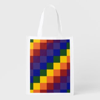 Checkered Rainbow Reusable Grocery Bags