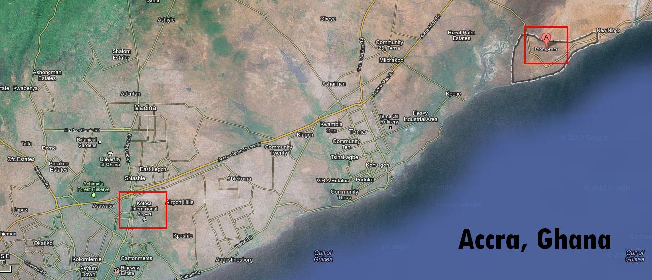 The new airport's location in relation to Kotoka Airport, Accra