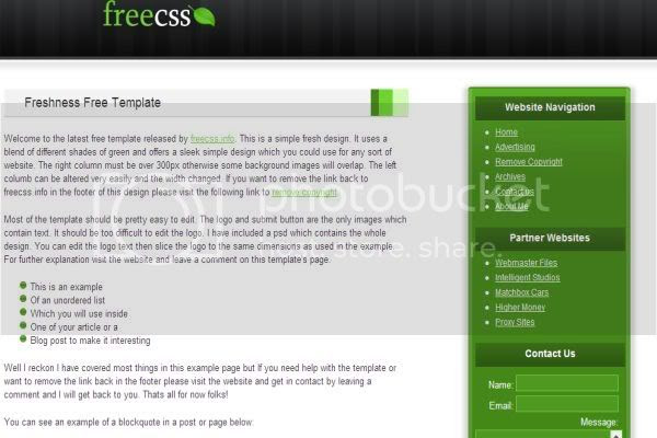 CSS Free White Green Fresh Template