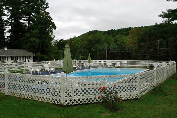 The pool at the Pondside Motel