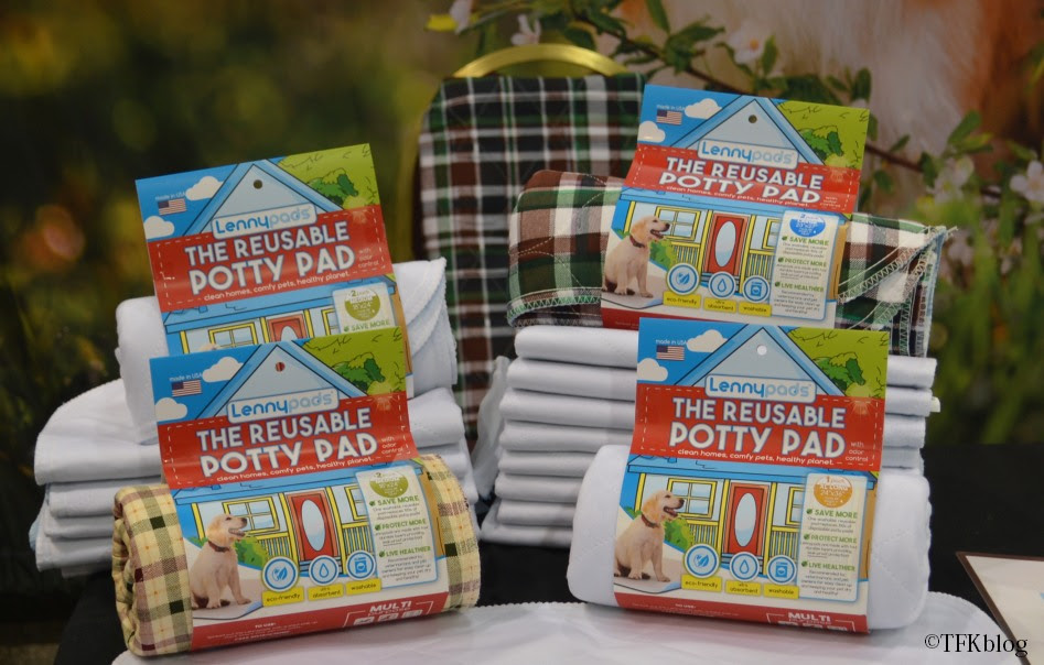 A display of Lenny Pad reusable potty pads