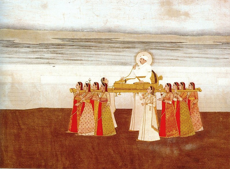File:Emperor Muhammad Shah carried in a Palanquin by Ladies. ca. 1735, Collection Kasturbhai Lalbhai, Ahmedabad.jpg