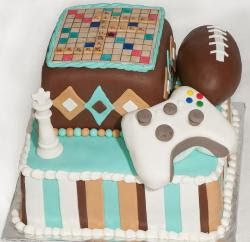 Football Birthday Cakes on Theme Birthday Cake With Scrabble Board  Chess King Piece  Football