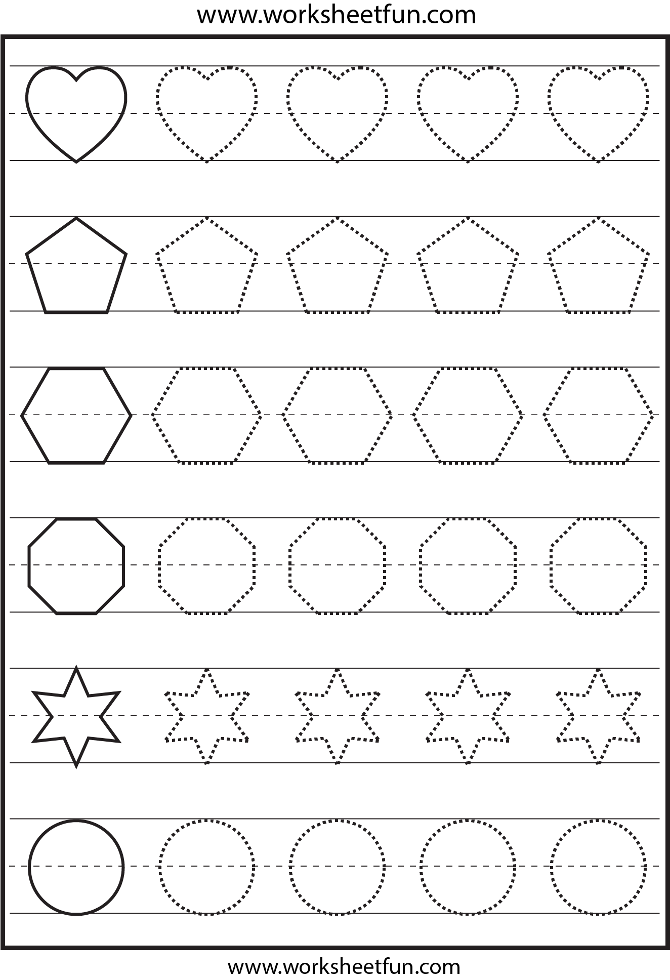 Shape tracing - 1 Worksheet / FREE Printable Worksheets ...
