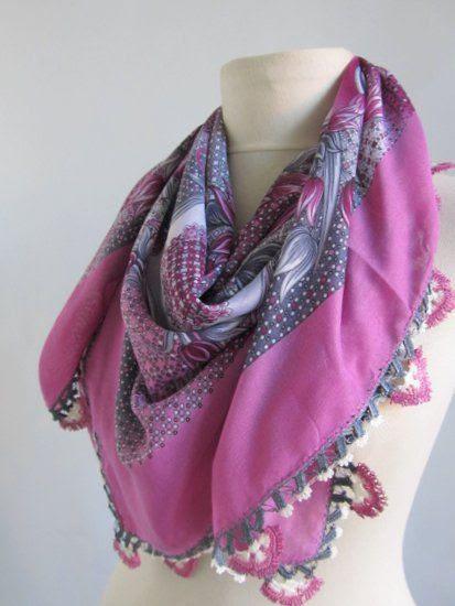 PINK VIOLET scarf - Turkish Yemeni scarf-Square Scarf.asuhan on Etsy, $28.00