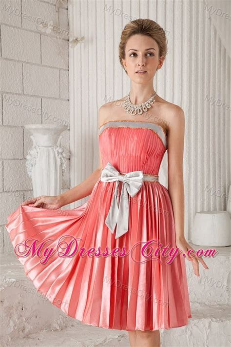 Watermelon Red Strapless Sash Pleat Homecoming Cocktail