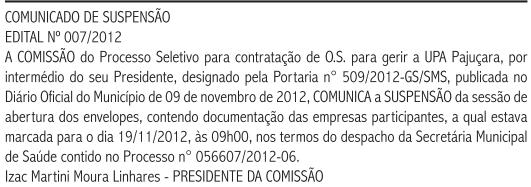 Secretaria de Saúde de Natal publicou suspensão do certame para escolha de OS (Foto: Reprodução/DOM Natal)