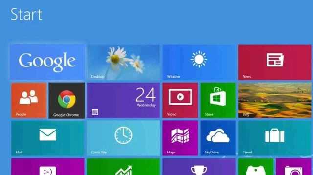 Windows 8 Start Screen Showing Google and Chrome as the search and internet browser
