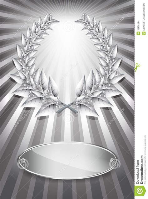 Silver Award Laurel Wreath And Label Stock Images   Image